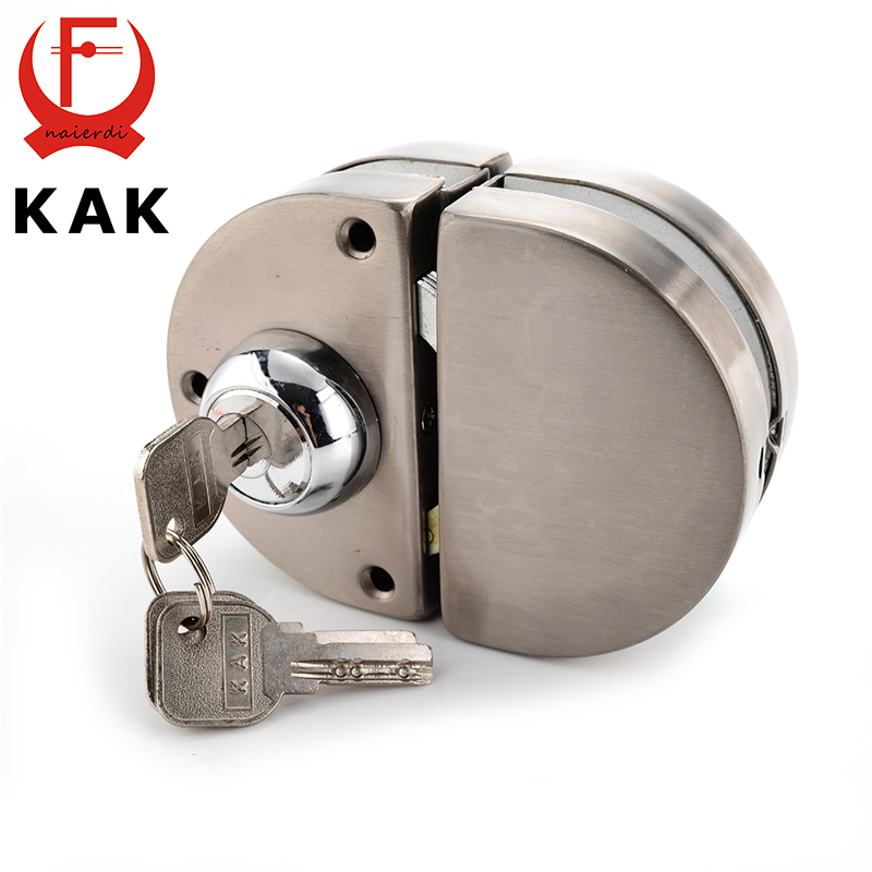 KAK Double Glass Door Lock 304 Stainless Steel Double Open Frameless Door Hasps For 10-12mm Thickness Furniture Hardware high quality sus304 stainless steel 10 12mm glass door lock double swing hinged frameless door no need to open holes