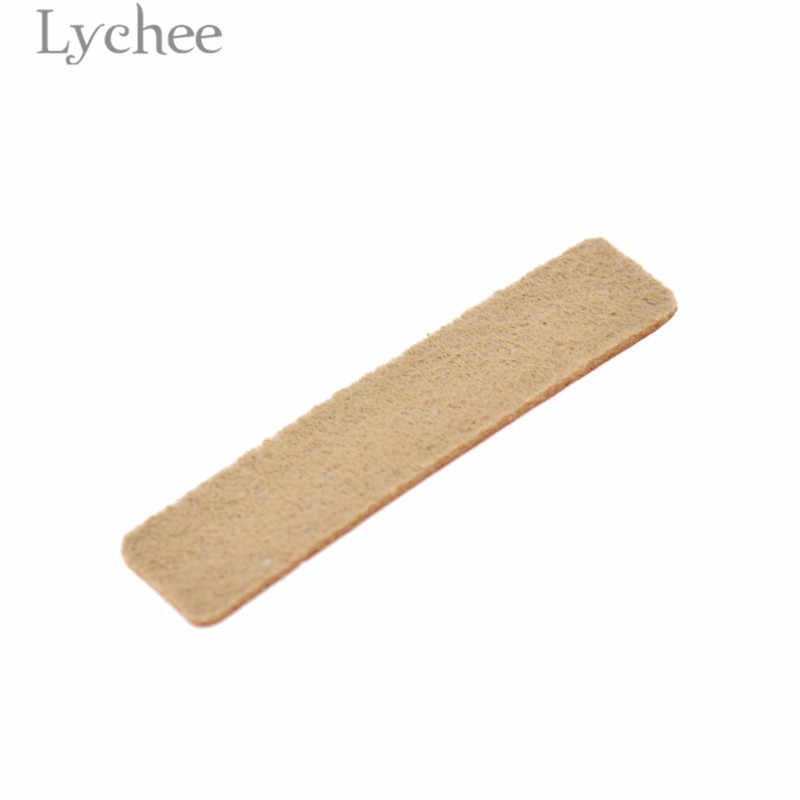 열매 생활 50pcs 수제 편지 패턴 PU 가죽 태그 직사각형 양각 된 레이블 DIY 플래그 레이블 의류 바느질 액세서리