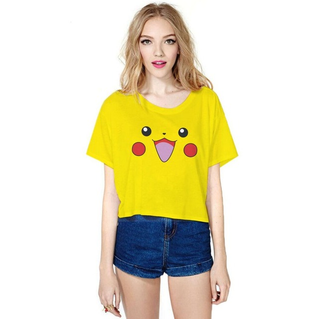 b4d517c4de73ae Funny Cartoon 3D Printed Crop Tops Girls Yellow Color Picachu Summer Casual  T-shirts Fitness Top Jogger Club Beach wear tees top
