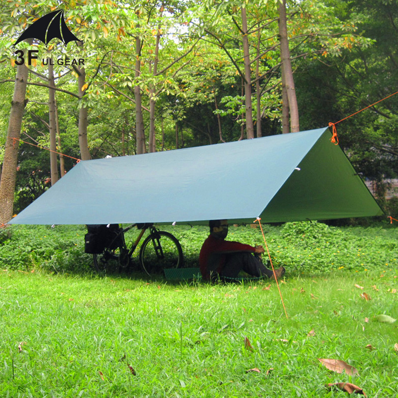 3F UL Gear Ultralight Tarp Outdoor Camping Survival Sun Shelter Tent Shade Awning Silver Coating Pergola Waterproof Beach Tent