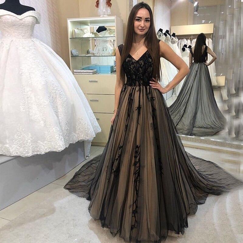 Appliques Beaded   Prom     Dresses   V-neck Sleeveless Black Tulle 2019 vestido de formatura Formal Party   Dress   Chapel Train   Prom   Gown