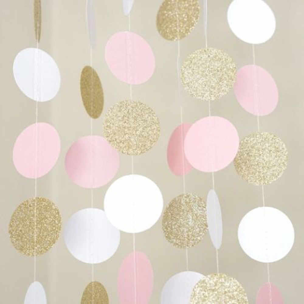 2018 New Glitter Circle Polka Dots Garland Banner Bunting Party Decor Pink White And Gold #NE1107