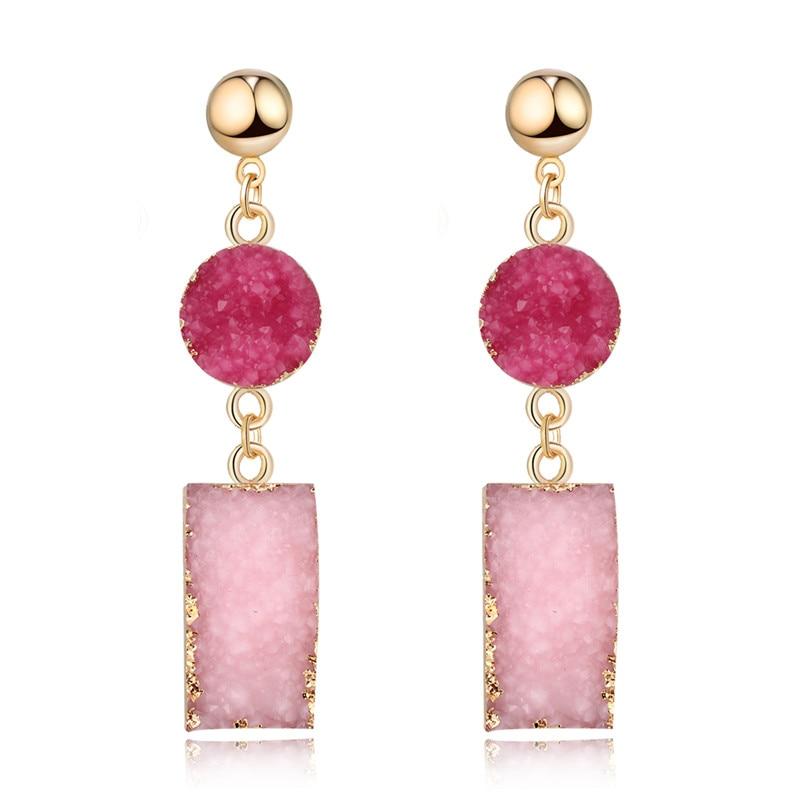 Dayoff European Woman Jewelry Rectangle Resin Pink Earings For Women Handmade Bohemia Earing Long Drop Pending Earring E152
