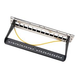 Image 2 - Panneau de raccordement blanc 12ports, adapté aux modules keystone cat.5e/cat.6, support de 10 pouces Barre de Support pour la gestion des câbles