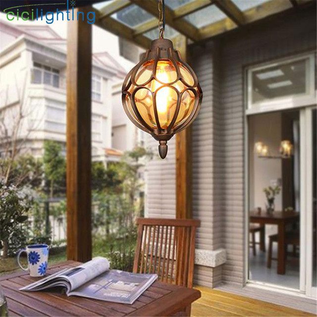 Europe Style Outdoor Light Vintage Pathway Pendant Lamps Exterior Waterproof Walkway Hanging Lamp Outside Landscape Lighting