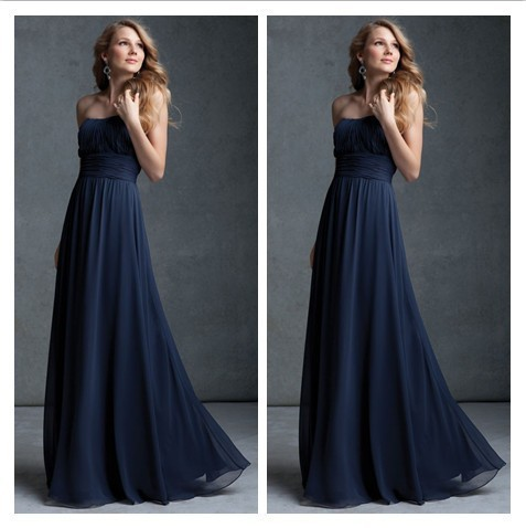New Simple Strapless Long Navy Blue Prom Dress 2017 Vestidos De Fiesta A Line Chiffon Backless Bridesmaid Dresses In From Weddings Events On