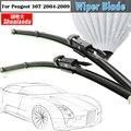 2Pcs Car Soft Rubber Window Windshield Bracketless Wiper Blades For 2004-2009 Peugeot 307
