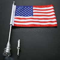Mtsooning Mount Flag Pole With Polyester USA Flag Motorcycle Accessories Cloth Aluminum For Harley Bikes Bobber