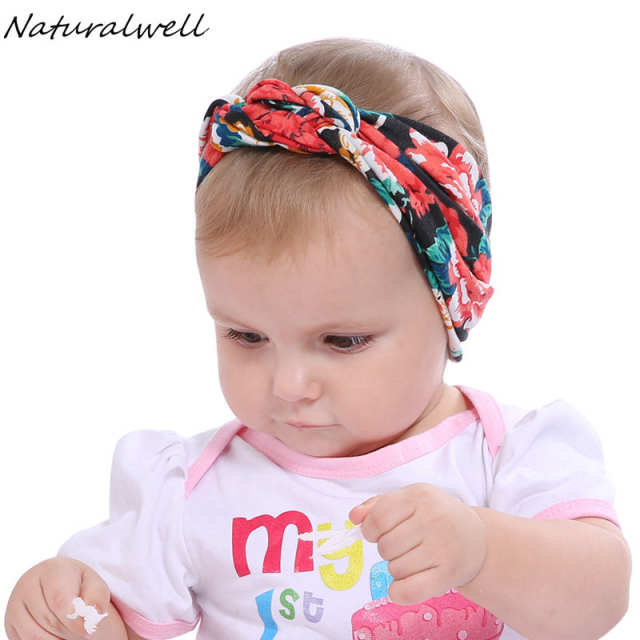34922460bc4 Naturalwell Baby Girl Turban Headbands Child Top Knot Headwrap Cross Knot  Head Wraps Bandeau Bebe Fille