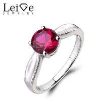 Leige Biżuteria Lab Ruby Pierścień Pierścionek zaręczynowy Round Cut Czerwony Kamień 925 Srebrny Pierścień Lipca Birthstone Solitaire Pierścień Prezenty