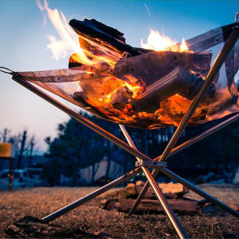 Outdoor portable fire frame folding barbecue oven stainless steel point carbon raw stove ultra light net heating firewood in Outdoor Stoves from Sports Entertainment