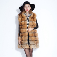 2015 Luxury Real Red Fox Fur Vest Waistcoat Autumn Winter Genuine Women Fur Gilet Trench Outerwear