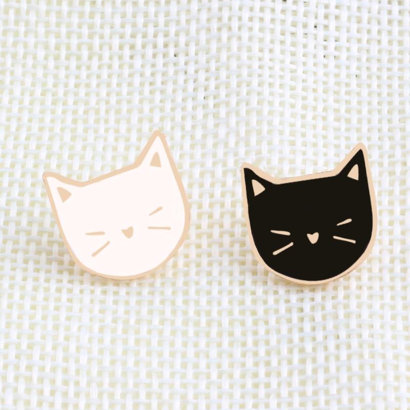 5pcs Cute Cartoon Jewelery Enamel Colorful Cat Collar Pins Badge Corsage Brooch