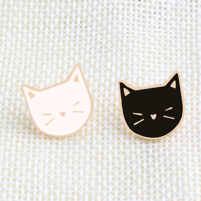2 pz/set Caldo Del Fumetto Sveglio del Gatto Animale Smalto Spilla Spille Distintivo Decorativo di Stile Dei Monili Spille Per Le Donne Regalo