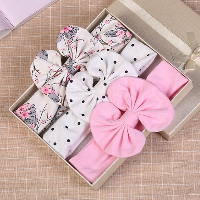 FAITOLAGI 3 Pcs/Set Floral Bows Dot Bowknot Headbands