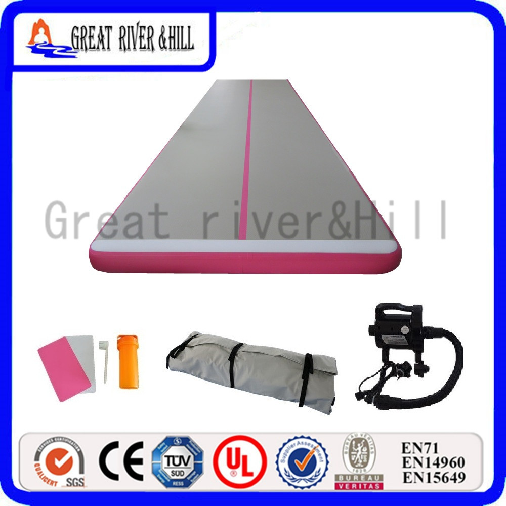Great river hill gymnastic mat inflatable air track waterproof pink 5m x 1m x 10cm