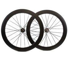 700C 60mm עומק דיסק בלם פחמן גלגלי 25mm רוחב נימוק מכריע/צינורי כביש דיסק Cyclocross זוג