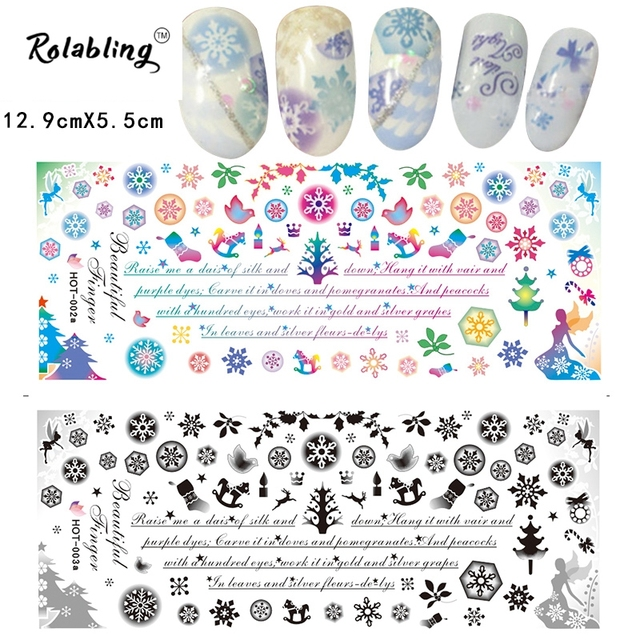New Arrival Snowflake Series Water Transfer Nail Sticker Drawing Professional Decorate Fingernails Paper