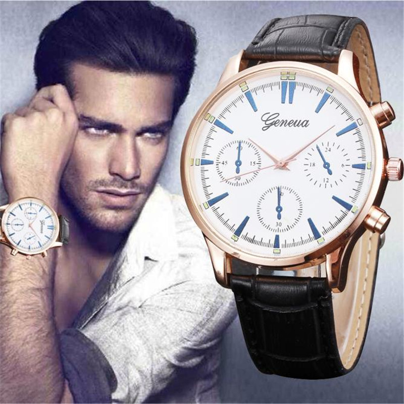men watch 2017 luxury unique Fashion Classic Men's Roman Number Quartz Electronic Leather Wrist Watch Reloj relogio clock 170424 gorben brand classical silver polishing quartz men pocket watch round roman number necklace relogio de bolso gift men watch