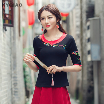 KYQIAO Women pullover female Spain style ethnic hippie half sleeve o neck red black patchwork embroidery t-shirt m-5xl t shirt