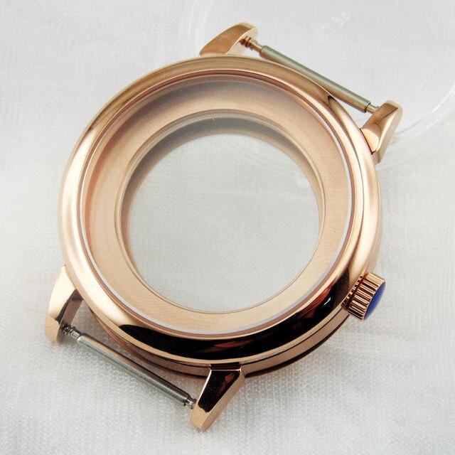 4540a909efb 40mm de aço inoxidável Vidro de Safira Rosa de Ouro Caso Ajuste para 2836  DG2813