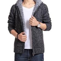 2018 Winter Fashion Knitting Hoodies Warm Thick Men Sweatshirt Zip Male Hooded Fur MC 011
