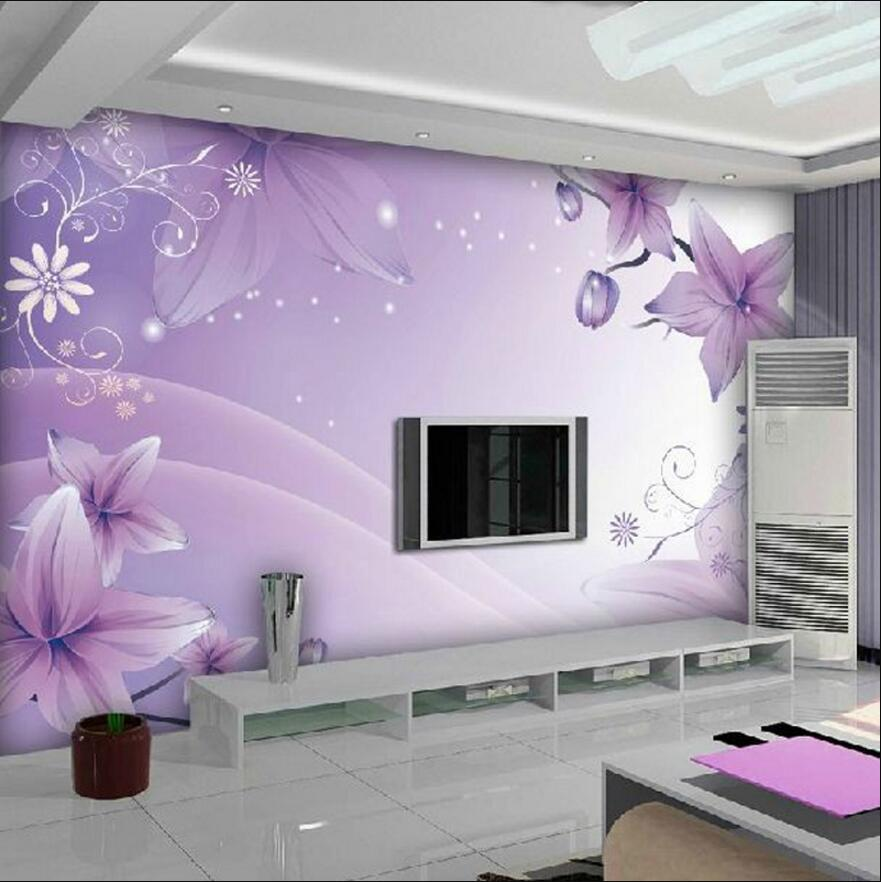 3d Dreaming Violet Flowers Wall Mural For Girls Room Wallpaper Wonderful  Pohto Wallpaper(China (