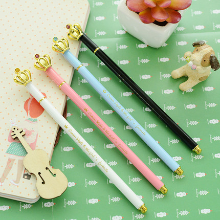 1 Pcs Cute Kawaii Korean Crown 0.5 Mm Gel Ink Pens Kids Writing Office School Supplies Stationery Blue White