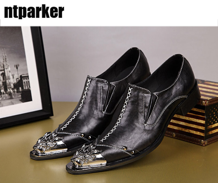 ntparker NEW 2018 POP Fashion Man Leather Shoes Pinted Iron Toe Slip-on Men Dress Shoes Black Red Runway Shoes, Big size 46