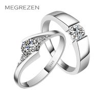 Charm Love Heart Wedding Ring Pair Of Couple Rings Rhinestone For Love Silver Jewelry For Men