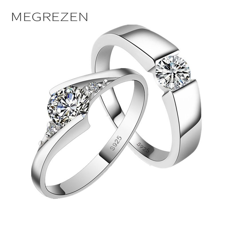 diamante platinum engagement crystal rings silver sterling couple product heart wedding