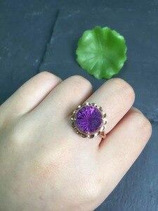 Image 5 - Anillo de oro de 18 quilates con gemas amatista Natural, joyería fina, con diamantes redondos, para mujeres