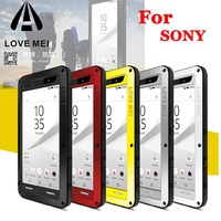 LOVE MEI Powerful Drop Dirt Water resistance gorilla glass+Aluminum Metal Armor Case for Sony Xperia Z3 Z4 Z5/ XA1 Ultra/ M5