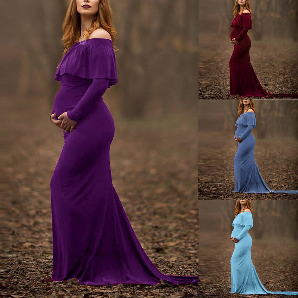 Bohemian Womens Pregnant dresses Sexy Photography Props dress Solid Slash neck Off Shoulders Ruffles Nursing Long Dress