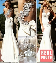 free shipping 2014 new vestido de festa sexy luxury beaded Formal Elegant party prom gown Mermaid white long evening Dresses