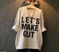 Оптовая (5 шт./лот)-2016 осень повседневная карманы письмо долго дизайн футболки для девочек