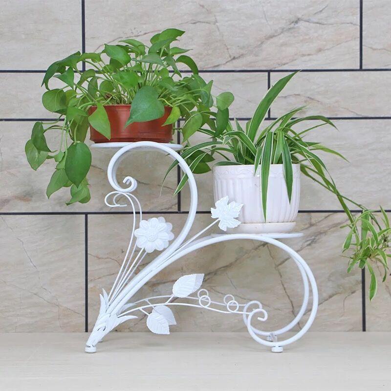 Style moderne Mode Fer Fleur Stand Français Stand de Fleur En Fer Forgé Blanc support de pot de fleur Fleurs de Balcon