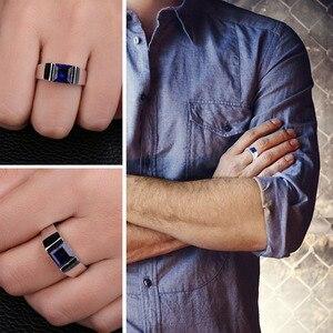 Image 4 - Jewpalace 3.3ct Gemaakt Sapphire Ring 925 Sterling Zilveren Ringen Voor Mannen Trouwringen Zilver 925 Edelstenen Sieraden Fijne Sieraden