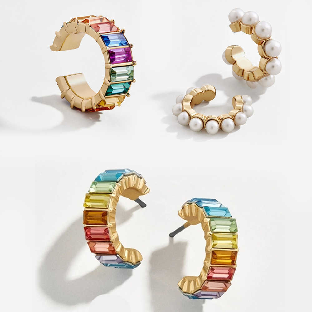 Fashion Rainbow Cz Ear Cuff for Women Girls Gold Alloy C-shape NO PIERCE Small Circle Stud Earring Bohemia Ethnic Party Jewelry