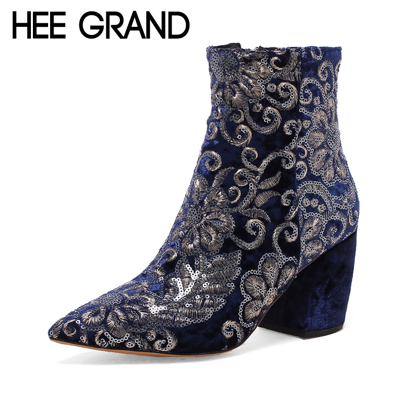 HEE GRAND Women Zipper Ankle Boots New Winter Warm Solid Pumps Shoes Suede Square Heels Boot Shoes Woman Plus Size 35-43 XWX6246