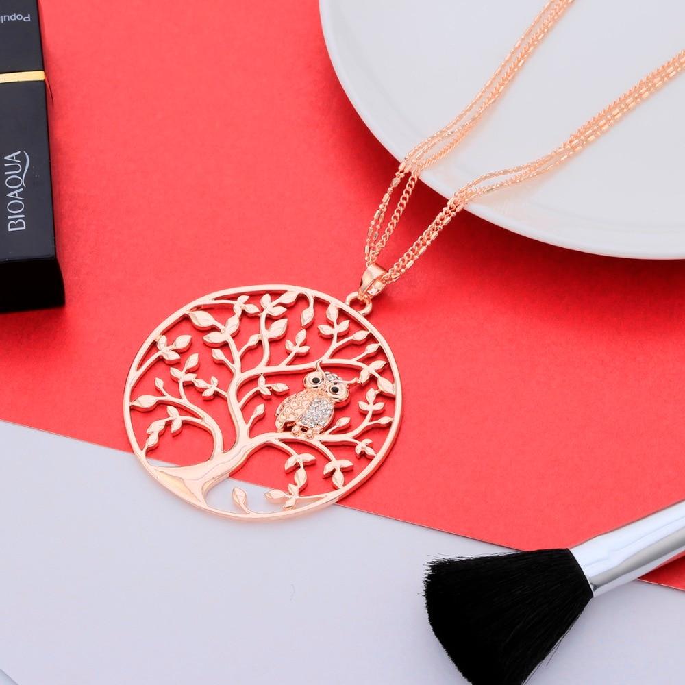 Owl halskjede Kvinner 2018 Fashion Tree Of Life Gull Smykker Sølv - Mote smykker - Bilde 3
