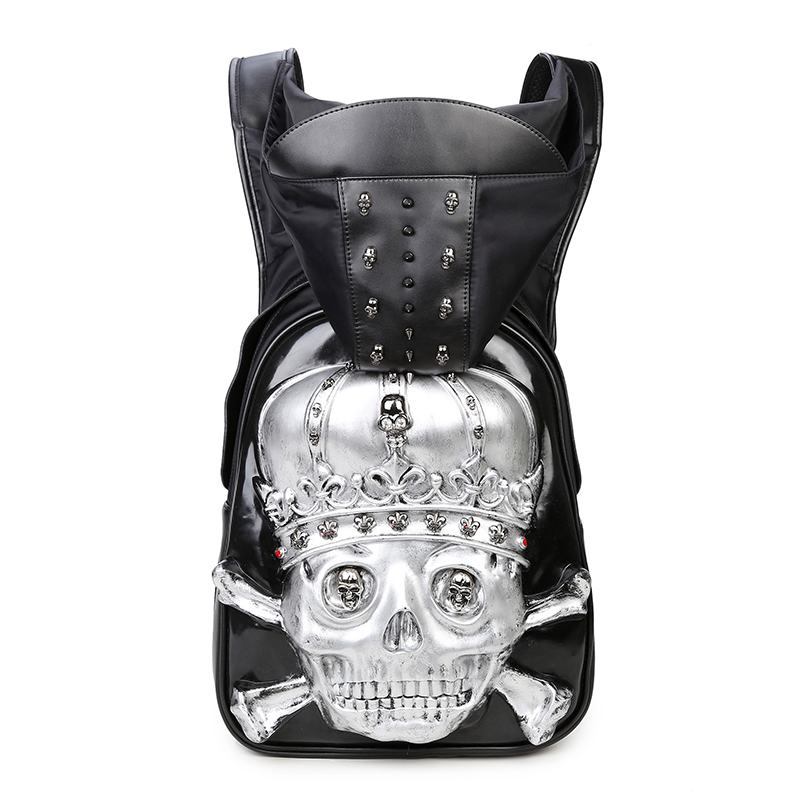 3D Leather Hooded Men Backpack Rivets Skull Bag with Hood Cap 2017 Punk Gothic Animal Backpack for Mens Teenage mco large capacity men restore 3d cool lion backpack gothic embossing bag leather shoulder bag with hood cap travel backpack