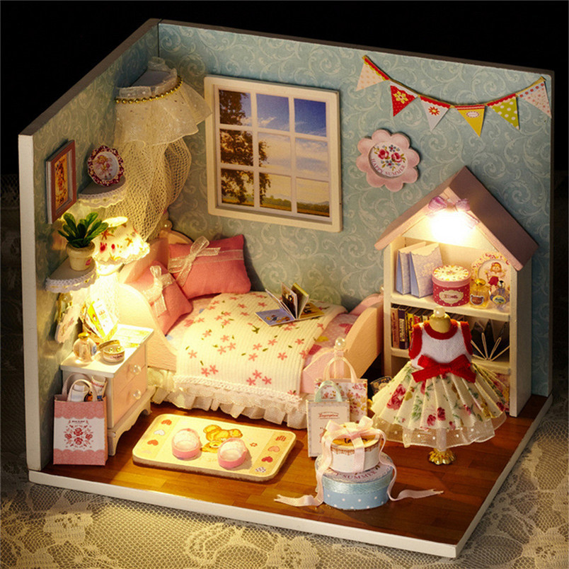 Bedroom House DIY Miniature House Model Wooden Toy Furnitures DIY Handmade Houses Toys Birthday Gift 40FE11