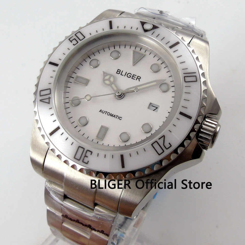 цена на Classic BLIGER 44mm White Dial Ceramic Bezel Luminous Marks Solid Stainless Steel Case Miyota Automatic Movement Men's Watch B64