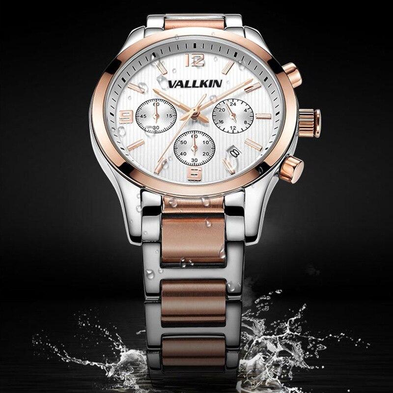 купить Mens luxury rose gold wristwatches male brand watches quartz man clocks waterproof  steel fashion Business luminous calendar недорого