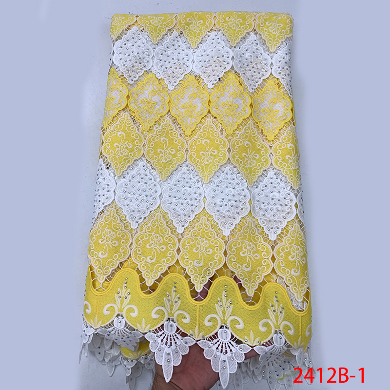African Cord Lace Fabrics High Quality,Nigerian Lace Fabrics For Wedding Dress, Embroidered Lace Fabric With Stones KS2412B-1