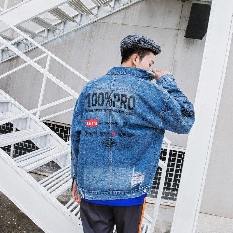 Automne nouveau hommes veste Original haute rue hip hop anglais imprimé denim veste cardigan manteau