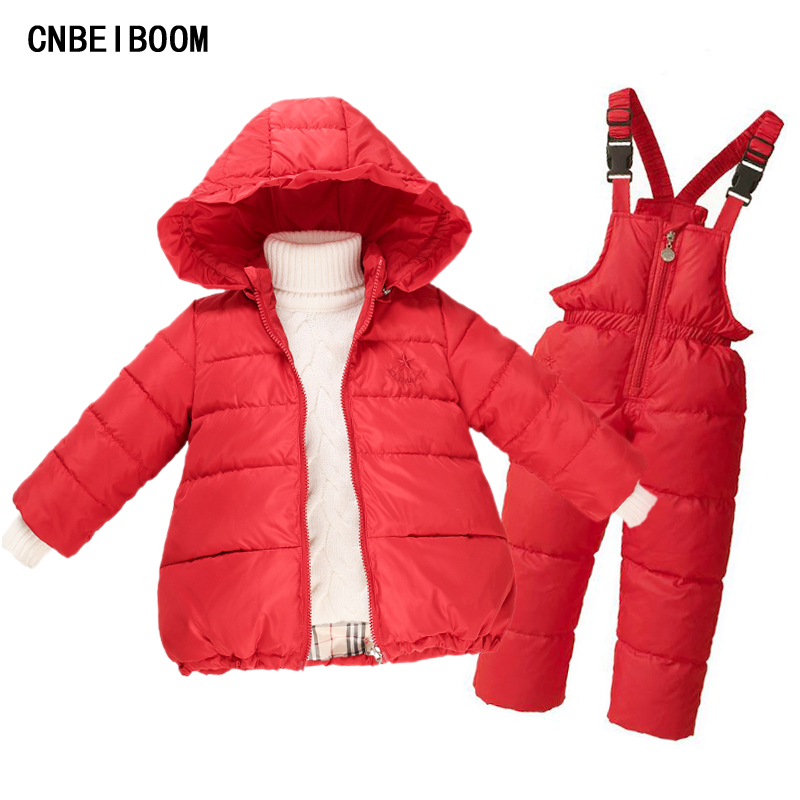 2016 Kids Girls Winter Duck Down Clothes 2-7 years Brand Warm Hooded Jacket +Trousers Overalls Ski Suit Jacket Children Clothing russian winter boys girls clothing white duck down sets snow warm down jacket down trousers suit children hooded 2pcs suit