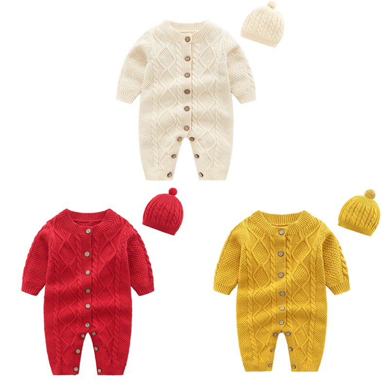 Winter Baby Rompers Wholesale Baby Clothes Set Newborn Sweaters Cotton Infant Jumpsuit Toddler Romper+Hat