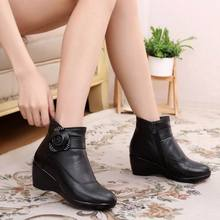 New 2017 women boots women genuine leather winter boots warm plush autumn boots winter wedge shoes woman ankle boots size 30-43